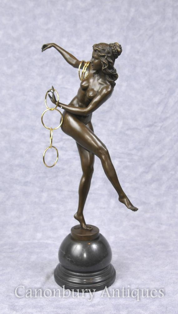 Figurine de danseur d'art déco par Colinet Statue