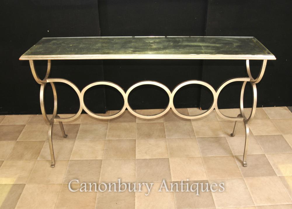 Francès Art Deco mirall Consola Base d'acer taula
