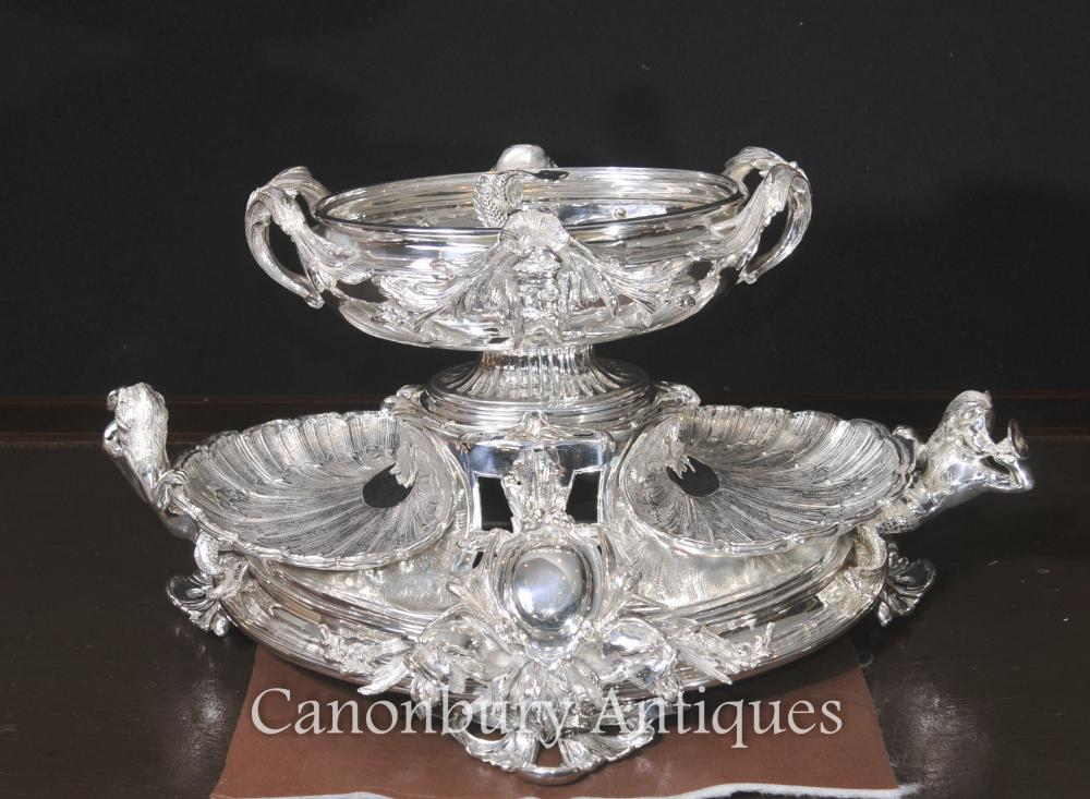 George III Plaque en Argent Plaqué Rococo Epergne Clam Dish