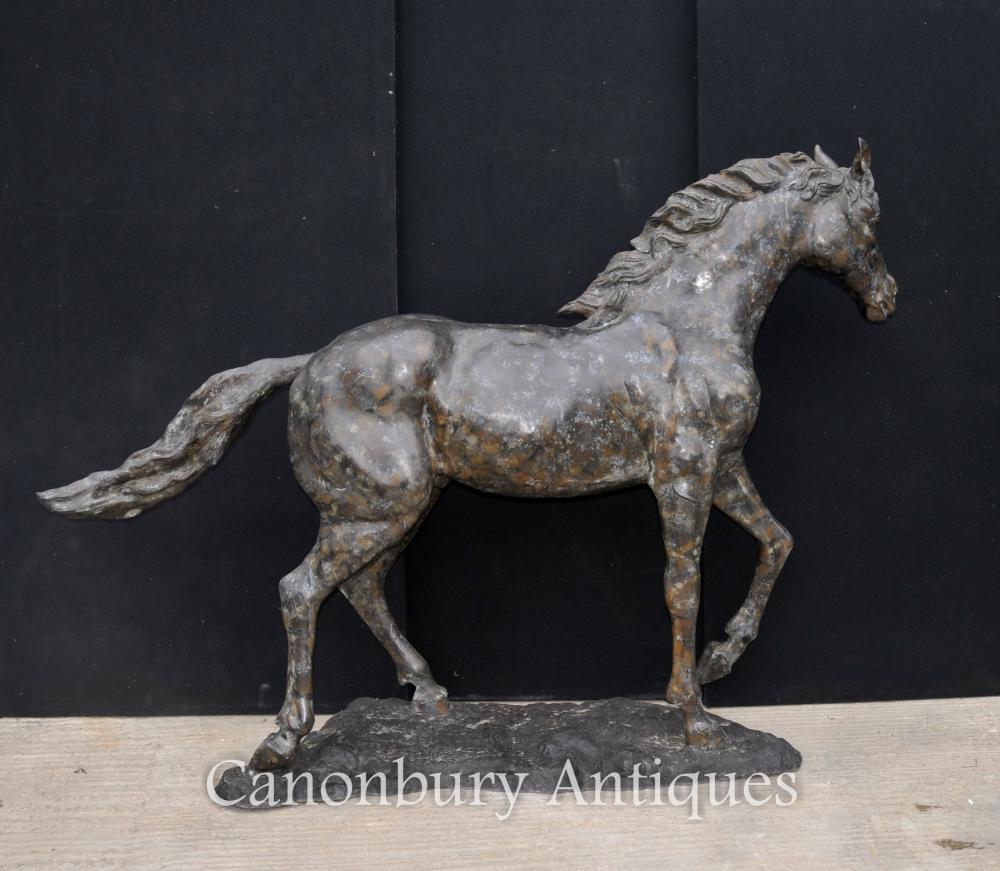 Grand cheval de bronze français Statue de poney Casting Verdis Gris Colt