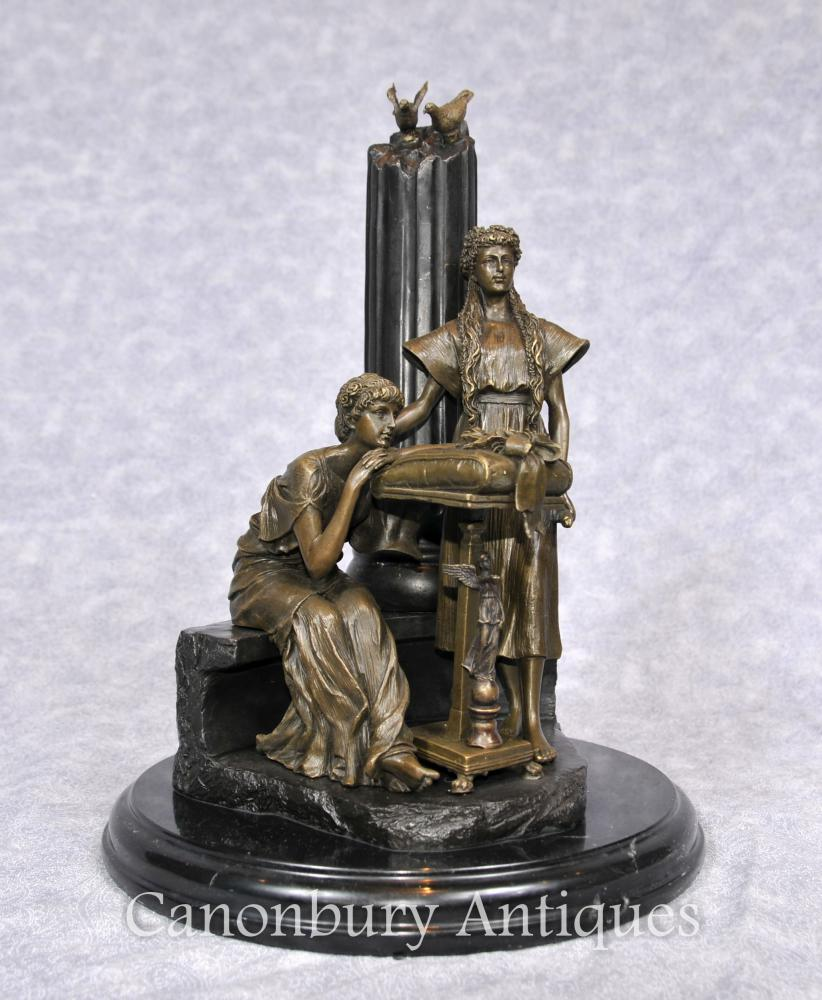 L'italien classique Bronze Statue Colonne Figurine féminine Maidens