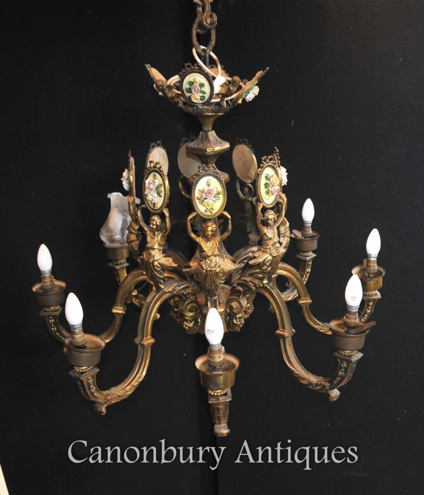 La llum del llum francès antic de l'Imperi Ormolu l'accessori del sostre