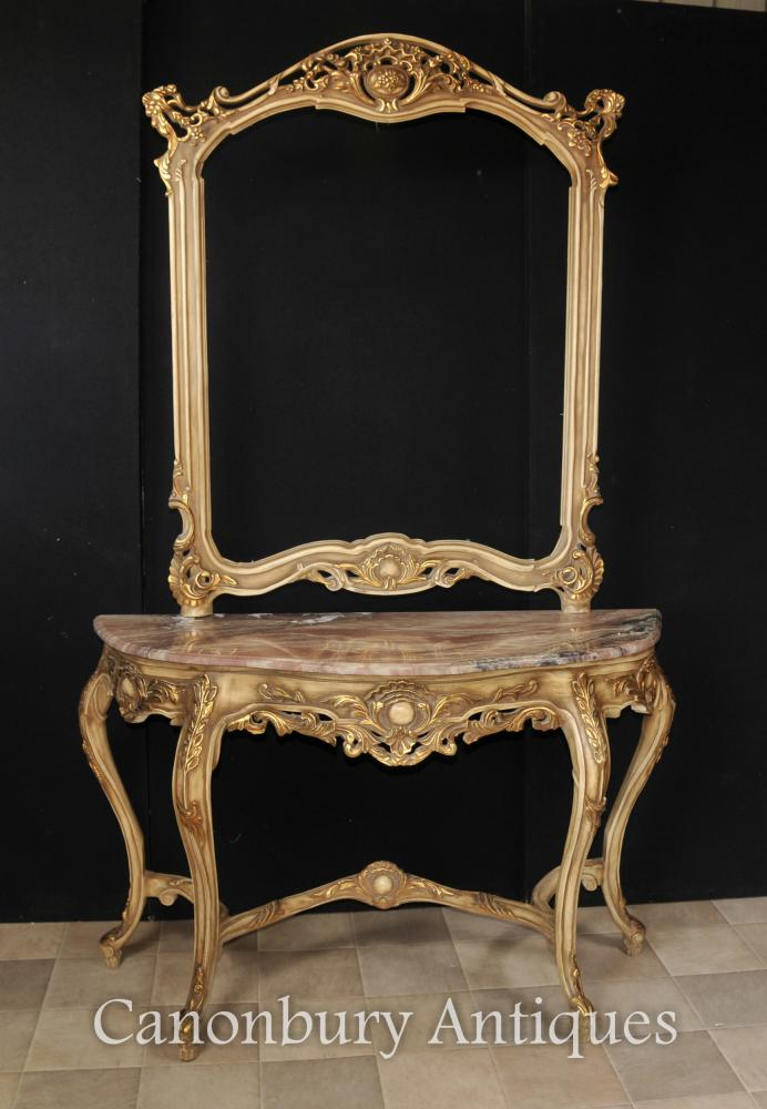 Louis XVI Ensemble table et miroir Giltwood Giltwood