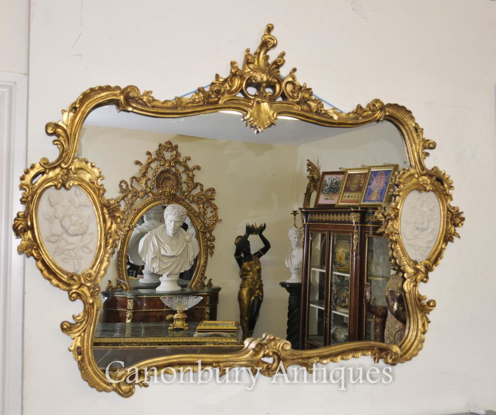 Louis XVI manteau doré Miroir Plaques d'albâtre