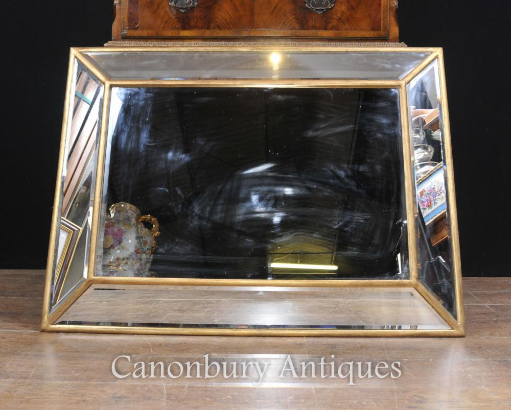 Miroir en verre Art Déco Miroir Cadre doré