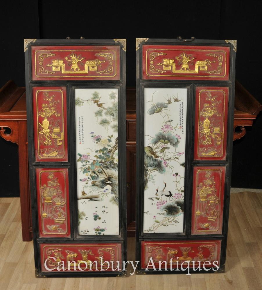 Pair Chinese Imperial Red Porcelain Plaques Qianlong Photos