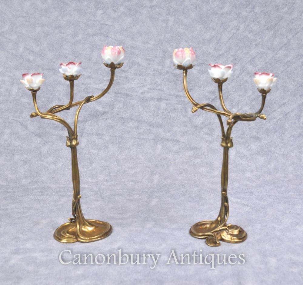 Pair French Art Nouveau Ormolu Candélabres Chandeliers
