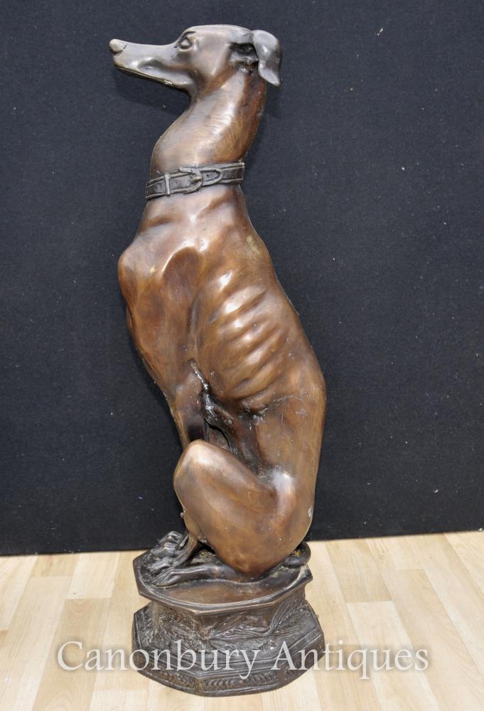 Paire Big Art Deco Bronze Galgo Chiens Statues Casting