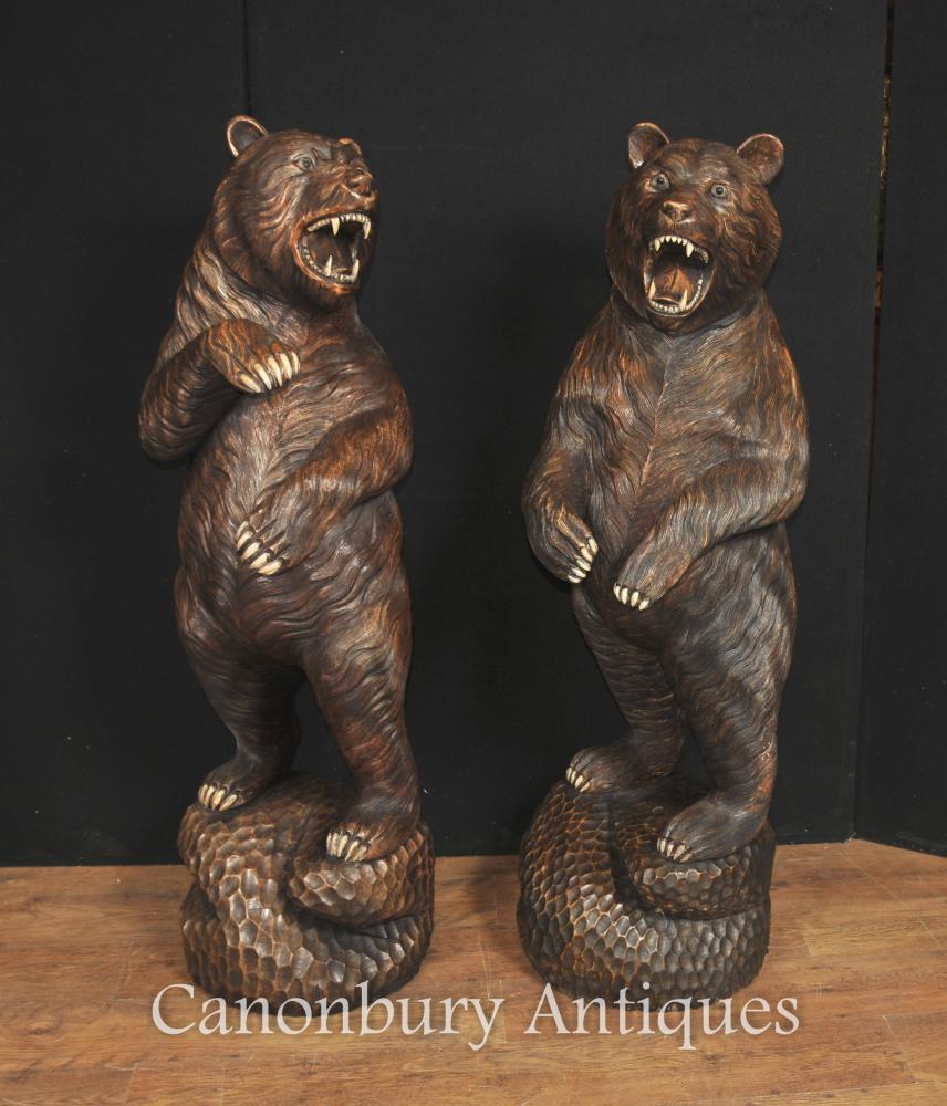 Paire Lifesize sculpté statue de l'ours de la forêt noire allemand