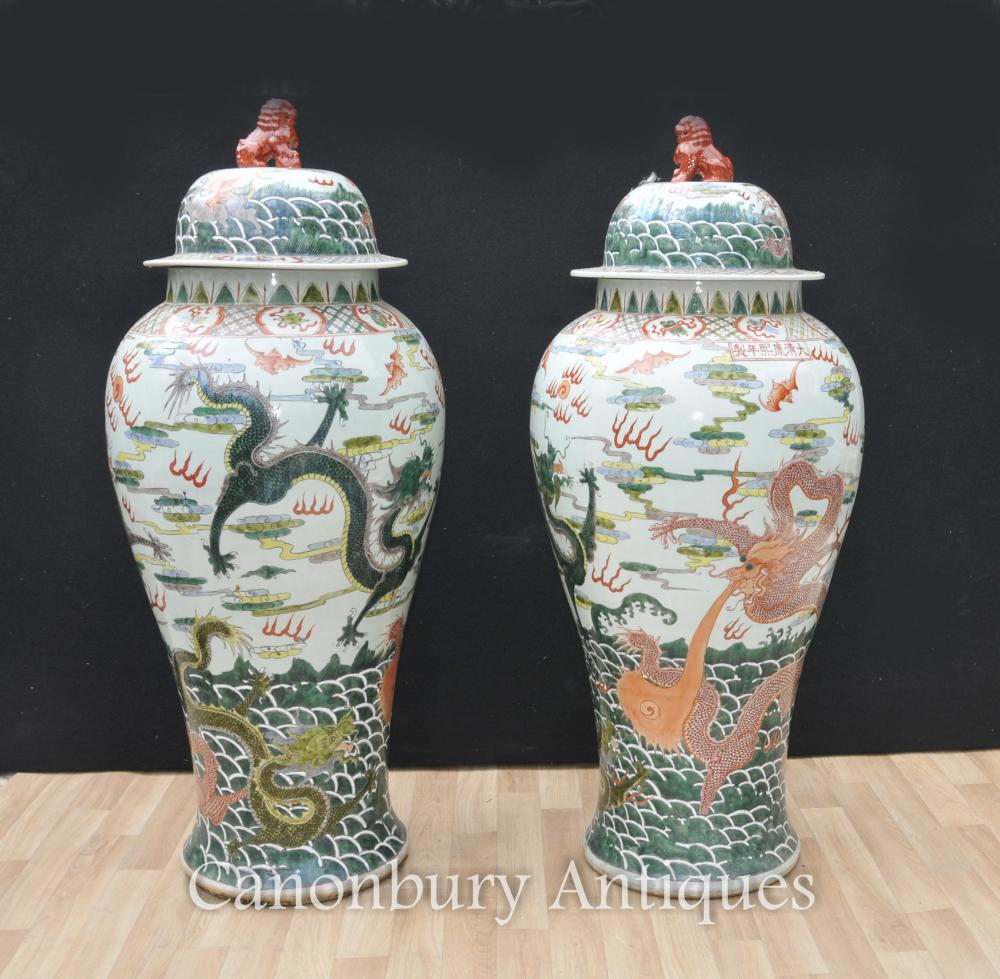 Paire XL Chinoise Qing Porcelaine Gingembre Jarres Vases Dragon Poterie