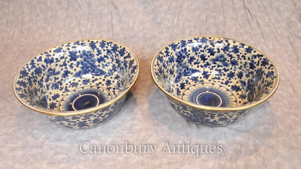 Paire chinoise Nanking bleu et blanc porcelaine bols floral