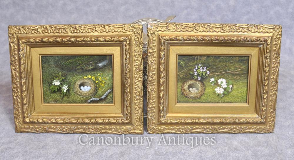 Paire d'oeufs de Pâques victorienne Nest Spring Still Life Peintures à l'huile Floral