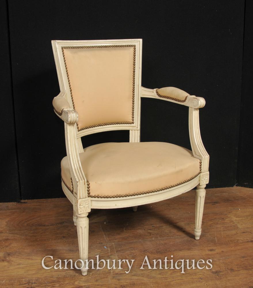 Paire de fauteuils néoclassiques français Fauteuil Chaise peinte