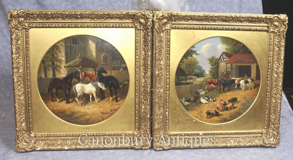 Paire de peintures à l'huile ancienne Scène de ferme rustique après J Herring