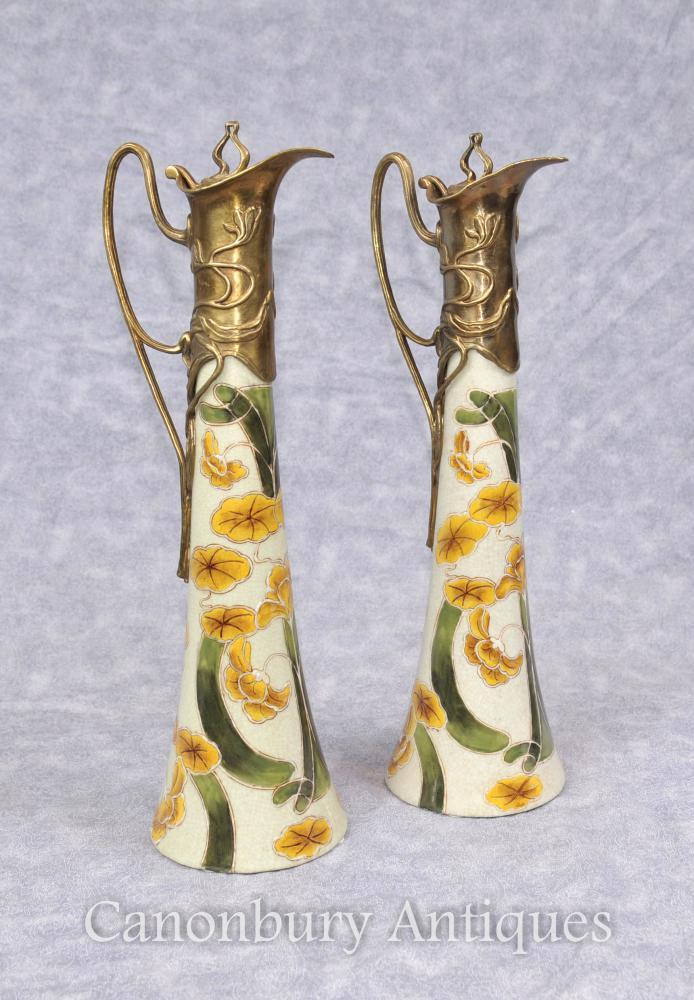 Paire de porcelaines en porcelaine Art Nouveau