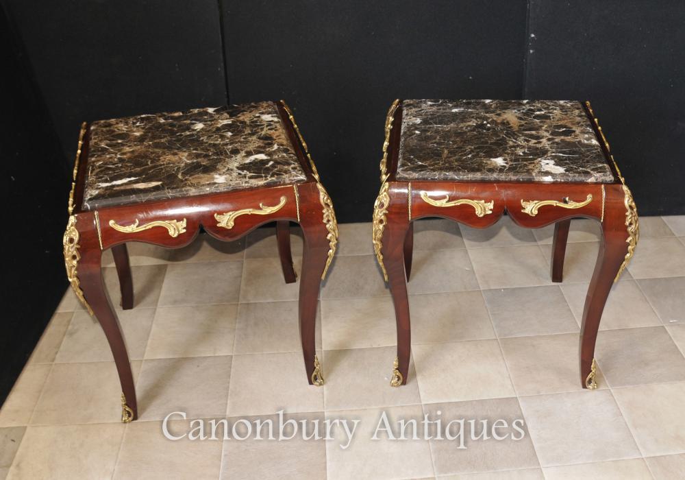 Parell Imperi francès cobert de marbre Taules secundaris taula de còctel