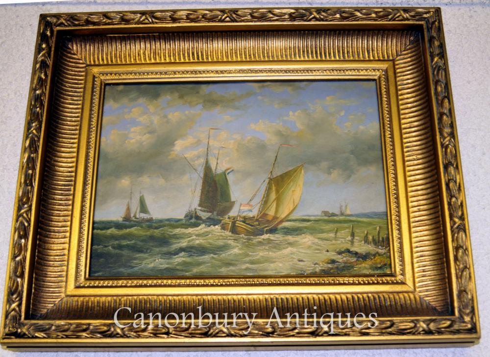 Peinture à l'huile de France Maritime Sea Scape Normandy Coast Voilier