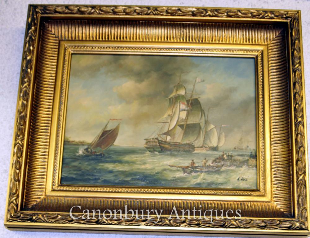 Peinture à l'huile française Galleon Peinture à l'huile Maritime Seascape
