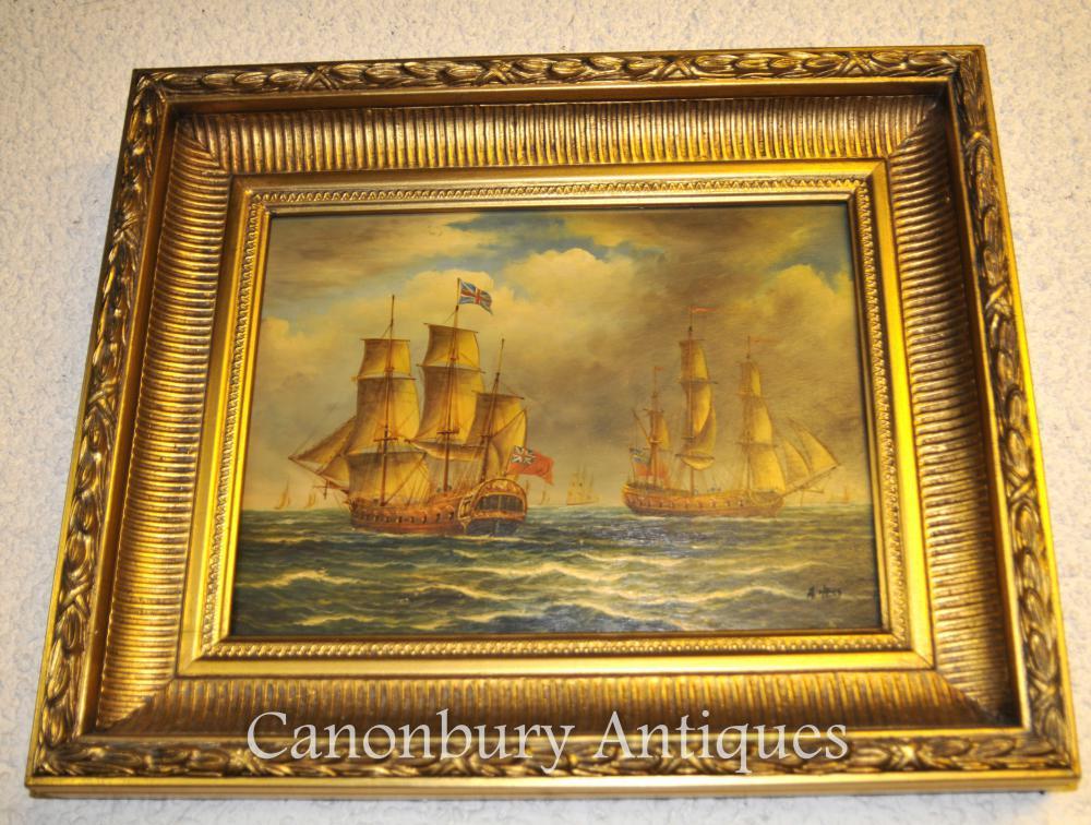 Peinture à l'huile victorienne Galleons anglais Bataille Trafalgar Maritime Seascape