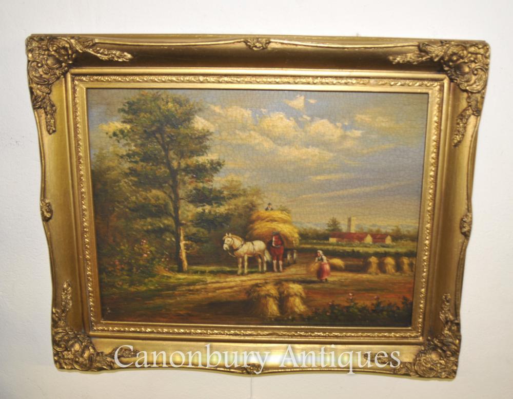 Peinture à l'huile victorienne Haystack Suffolk Manor Constable