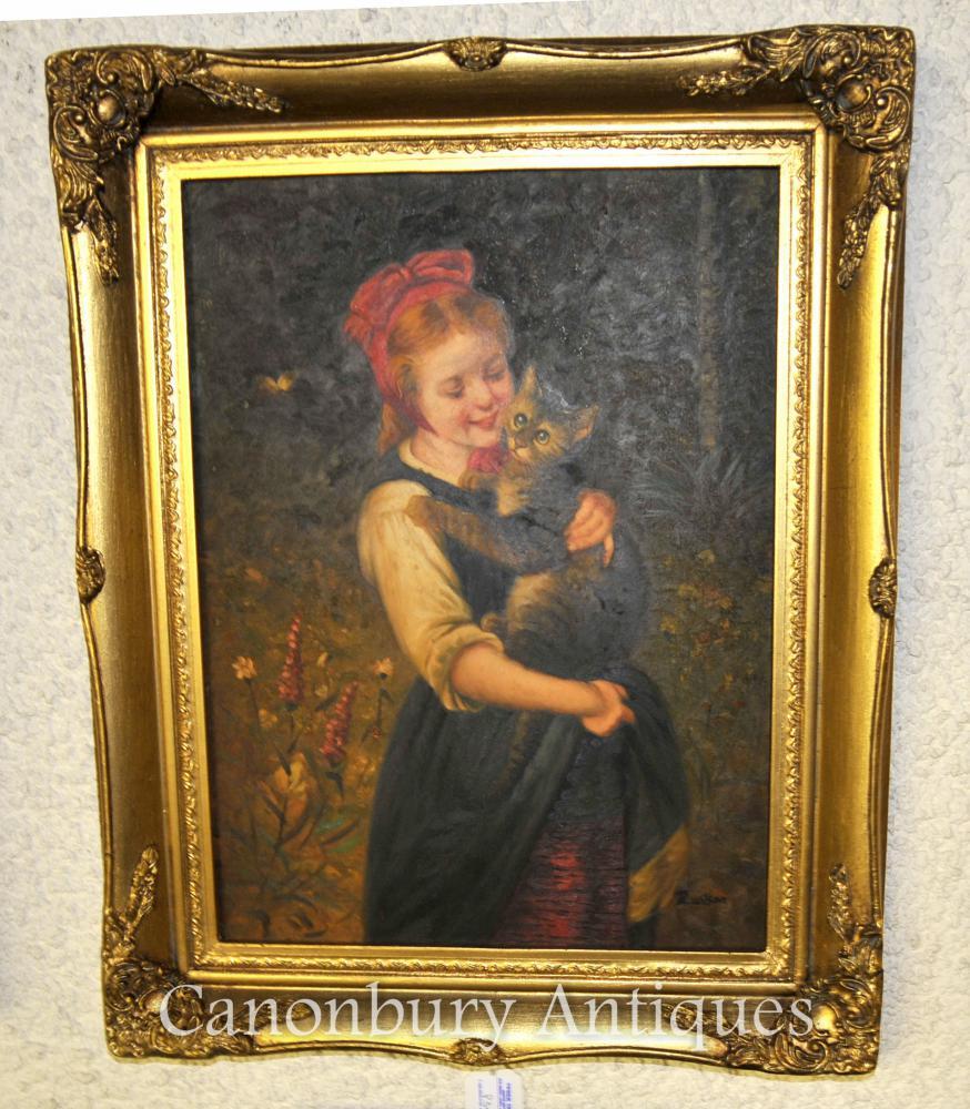 Peinture à l'huile victorienne Portrait Fille et chaton Chat signé