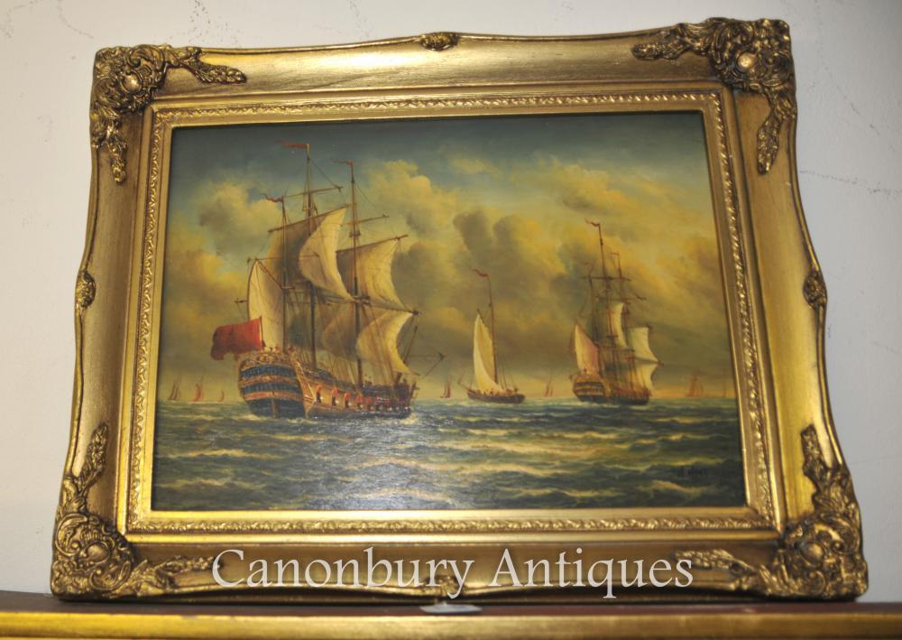 Peinture à l'huile victorienne Seascape Galleons Channel