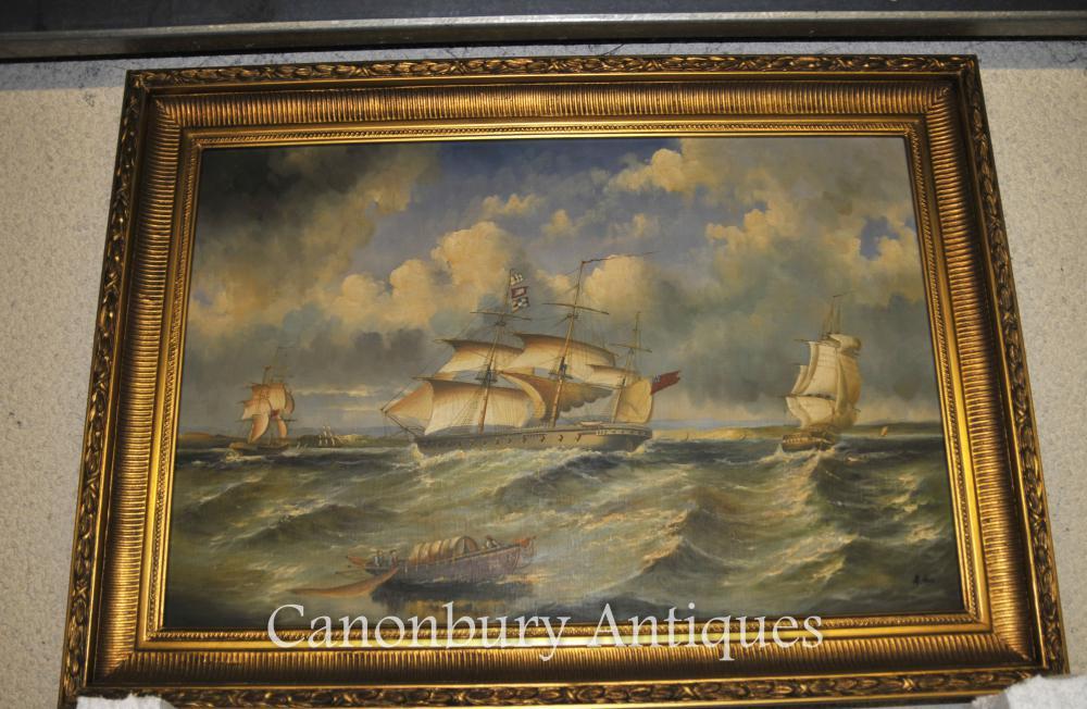 Grande peinture à l'huile de l'empire français Seascape Maritime Art
