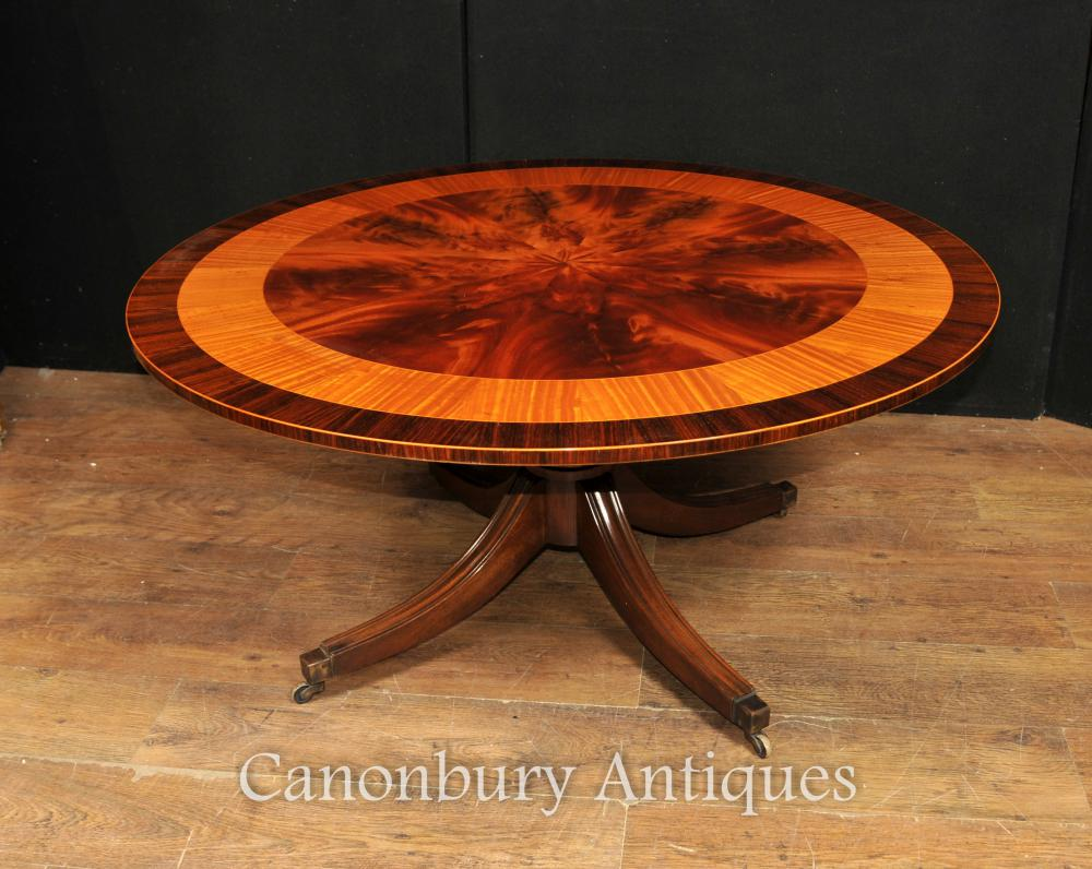Regency Table basse réglable en hauteur Table centrale en acajou Satinwood