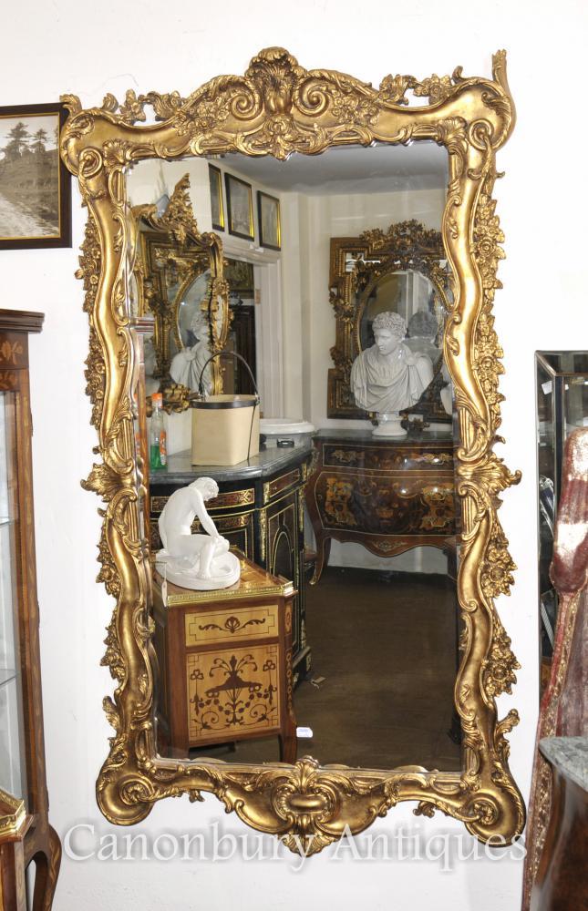 Rococo Gilt Pier italien miroir miroirs encadrés en verre