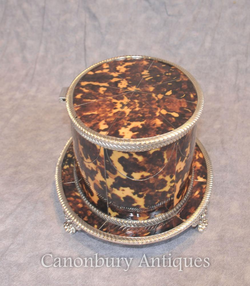 Sheffield Plaque en argent Boîte ovale Boîte à bijoux Faux Tortue