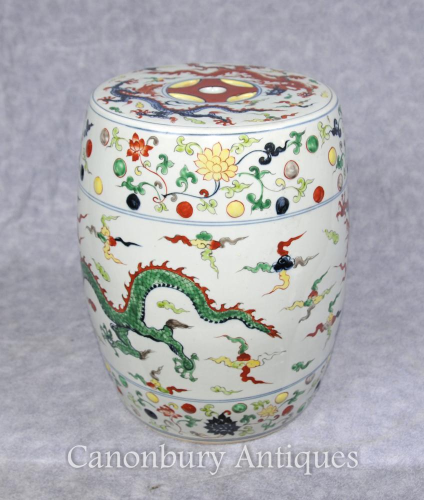 Simple Qianlong porcelaine chinoise siège de jardin Tabouret Dragons