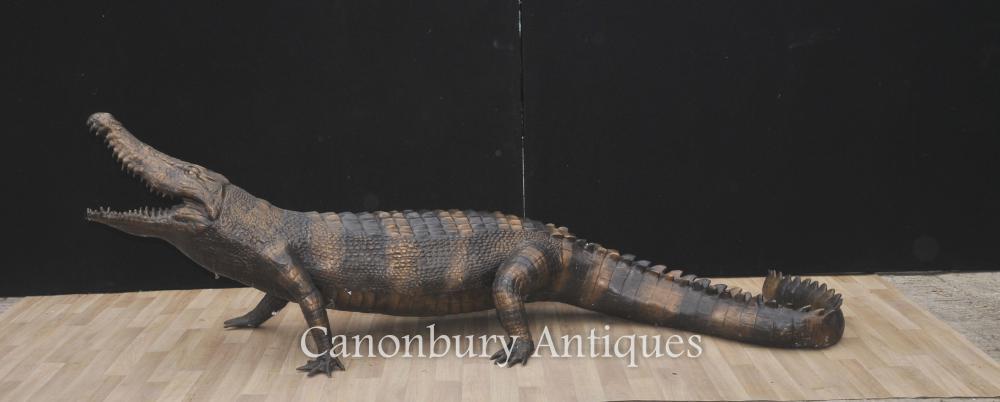 Statue en crocodile de bronze de Lifesize Casting Alligator Reptile