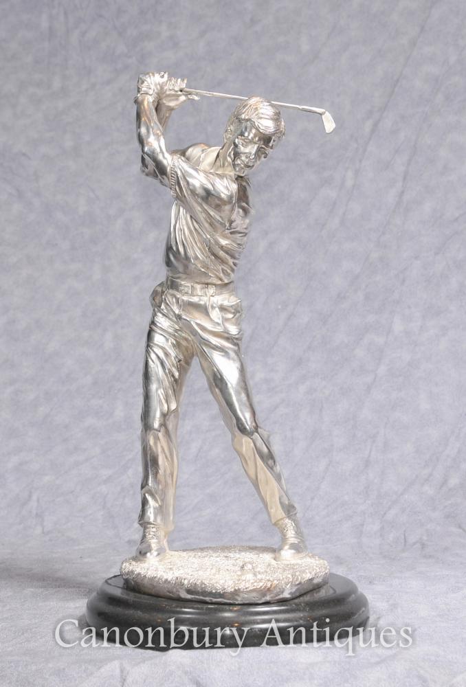 Statuette en bronze de golfeur Statuette en cuir écossaise