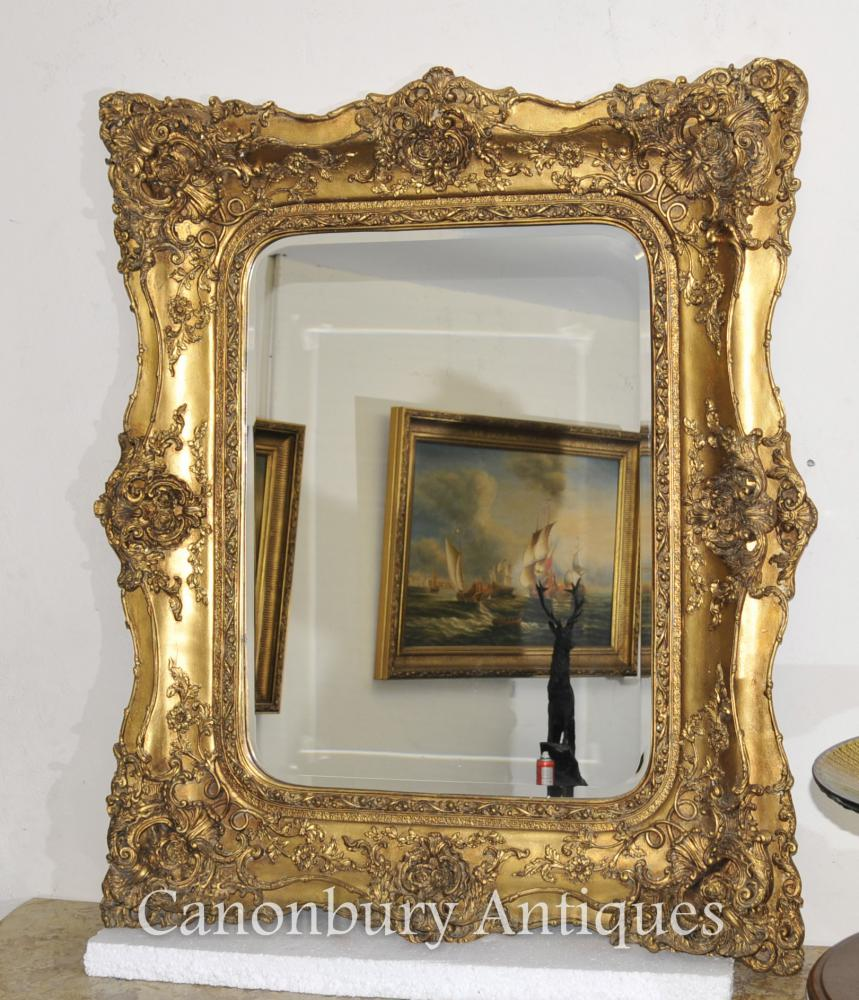 Victorian Gilt Manteau Miroir Miroirs Verre Cadre