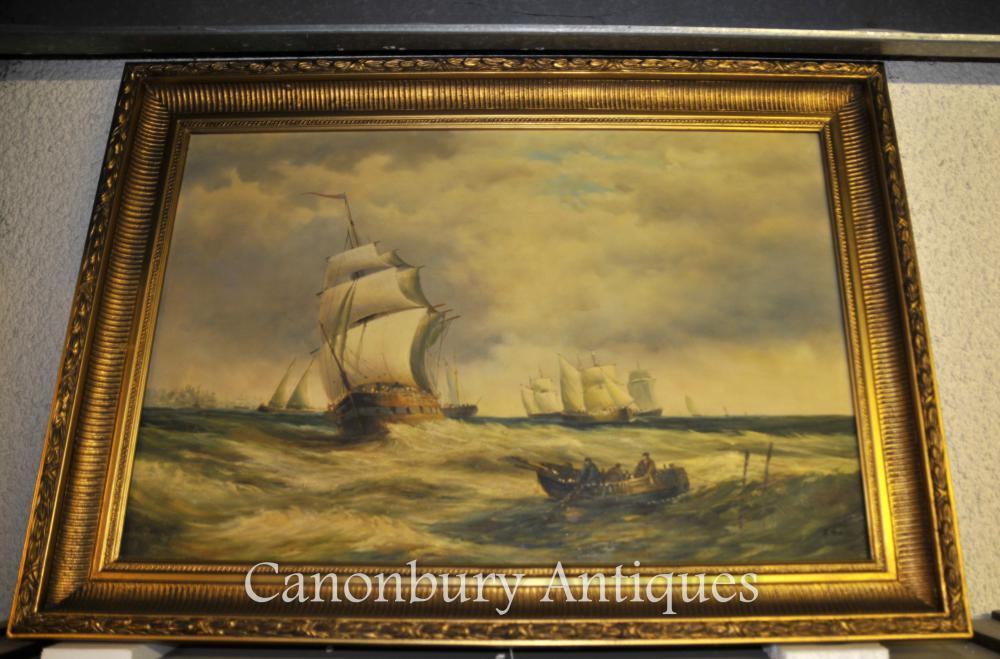 Victorian Peinture à l'huile Mer du Nord Seascape Turneresque Romantique Art