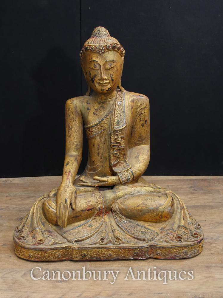 Ancienne statue de Bouddha népalaise sculptée Art bouddhique Pose de méditation Abhaya Mudra