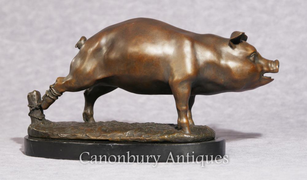 Anglais Bronze Pig Statue Casting Porcelet Cour