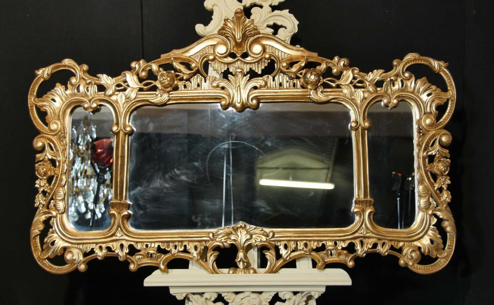 Anglais Chippendale Gilt Mantle Miroir Rococo Paysage Miroirs