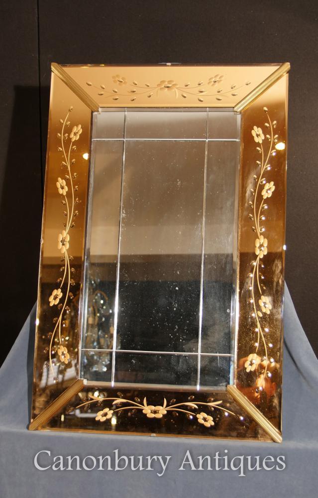 Antique Art Deco gravé à l'eau de verre Miroir miroir miroirs