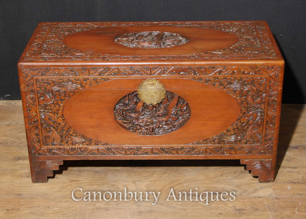 Antique Chinois Sculpté Camphre Bois Coffre Bagagerie Trunk Table