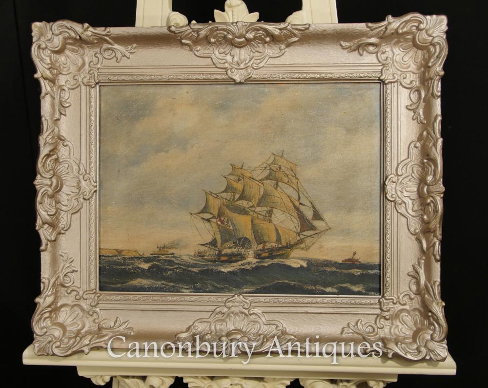 Antique Dutch peinture à l'huile navire Maritime Seascape Art