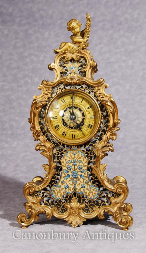Antique Empire Français Cloisonné Horloge Mantle Rococo Ormolu Chérubin
