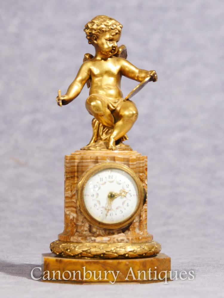 Antique Empire Française Chérubin Horloge Horloge Horloges Ormolu 1890