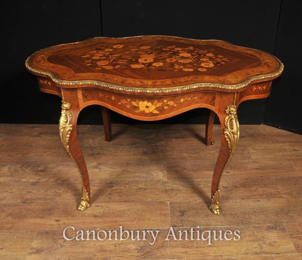 Antique Empire français en forme de table 1880 marquetry Inlay