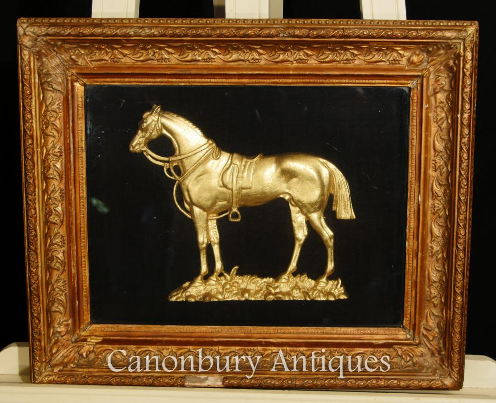 Antique French Bronze Montée Horse Relief Picture Framed