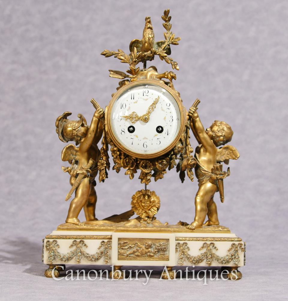 Antique Louis XVI Mantle Horloge Ormolu Chérubin
