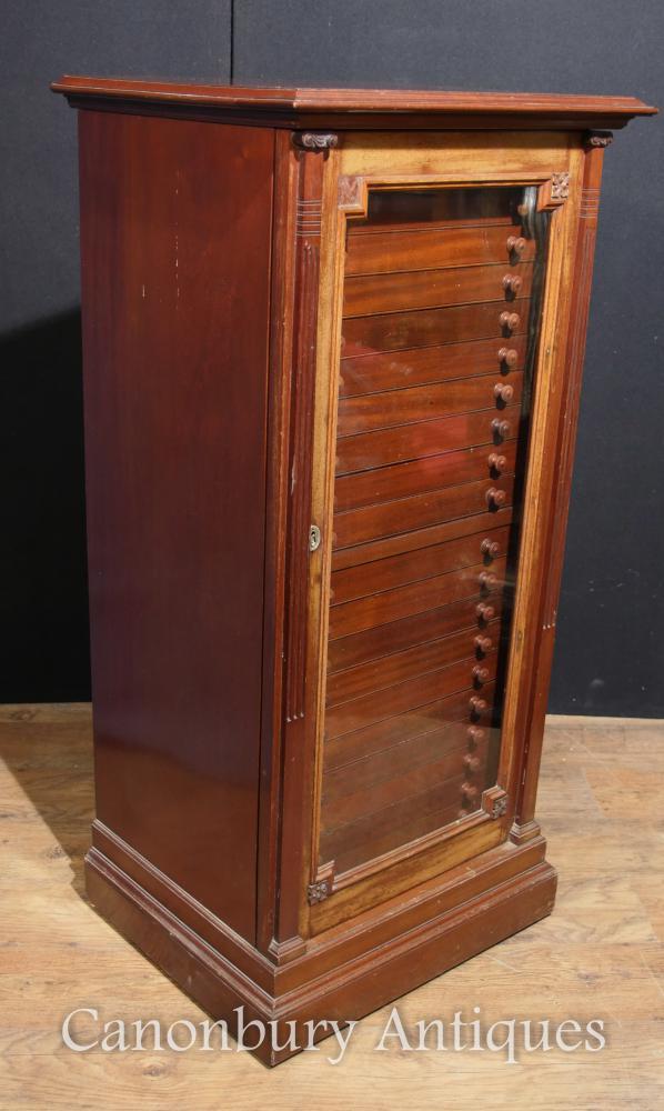 Antique Victorian Walnut Specimen Cabinet Intérieur Coffre Salvage