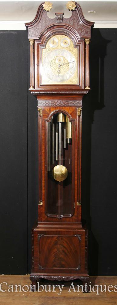 Antiquité anglaise Grand-père de l'horloge Acajou Mouvement musical Baker de Bath