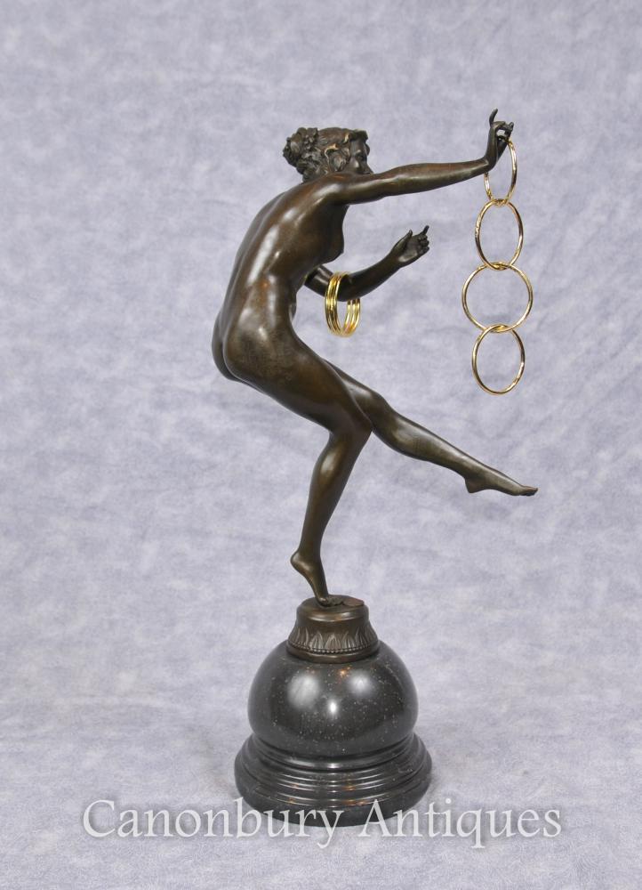 Art déco Bronze Danseur de cerf Statuette Figurine Paris