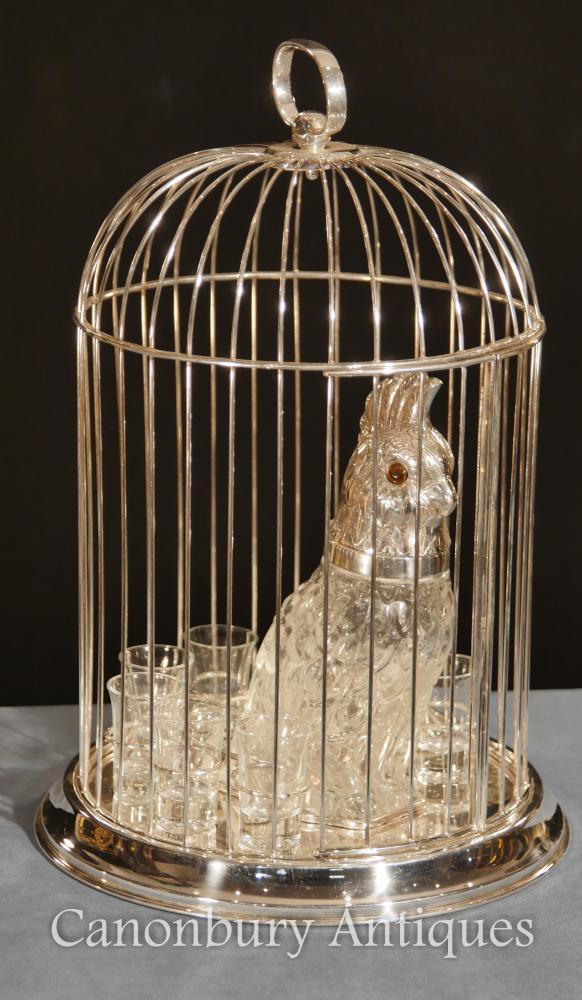Assiette en argent victorien Caged Parrot Décanteur en verre tourné